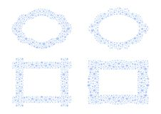 Water drops frames - cdr format. Oval and rectangular frames in water drops on blue and white background Stock Image