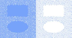Water drops frames - cdr format. Rectangle and ellipse frames in water drops on blue and white background stock illustration