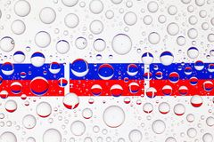 Water drops on glass and flags of Russia royalty free stock photos