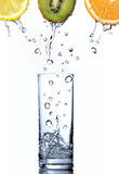 Water drops in glass on orange, kiwi and lemon stock images