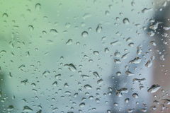Water drops on the glass. Water drops on the glass after raining Stock Photo