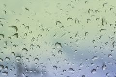 Water drops on the glass. Water drops on the glass after raining Royalty Free Stock Images