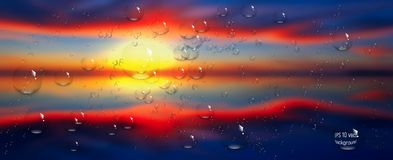 Water drops on glass. Sea,sky. clouds . sunset.  Stock Photos