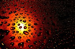 Water drops on glass shield Stock Photo