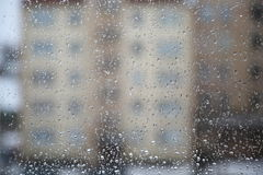 The Water drops on glass of window Royalty Free Stock Image