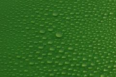 Water drops on green background texture. Ecology for design Stock Images