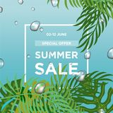 Water drops with green leaves. Summer Sale banner template design. Big sale special offer. Special offer banner for poster, flyer stock illustration