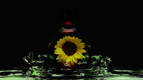 Water drops in green water. A sunflower surrounded by a water drop falls into green water. 3d illustration royalty free illustration
