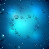 Water drops heart Stock Photography