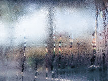 Water drops from home condensation on a window Stock Photos