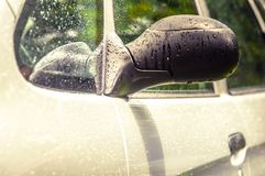 Rain Drops, Water Drops on Hood of Automobile - Car detailing Stock Photo