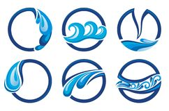 Water drops icons. Set of blue water drops icons Stock Images