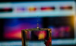 Water drops inside a glass stock images