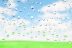 Water drops and landscape Royalty Free Stock Photography
