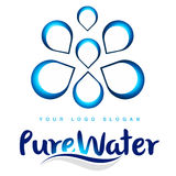 Water Drops Logo. Illustration drawing representing water drops logo with blue colors and gradients Royalty Free Stock Photography