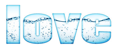 Water drops love sign Stock Images