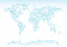 Water drops map. Blue water drops symbolise the world map Royalty Free Stock Photos