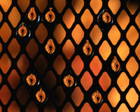 Water drops on mesh. A background of black mesh with water droplets Stock Photos