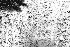 Water drops on metal surface. Abstract background. Drops of water-repellent surface in black & white Stock Photography