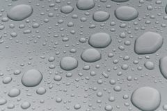 Water drops on metal surface. Water drops on metalized car paint, hence the tiny grain-looking dots on the surface Royalty Free Stock Photography