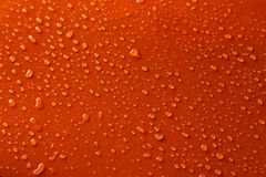 Water drops on orange background, close up Stock Images
