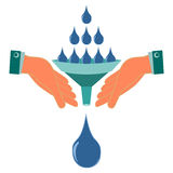 Water drops, the rain poured into the funnel in his hands. Natural disaster, flood. Drought, help in irrigation of plants, water collection. Global warming royalty free illustration
