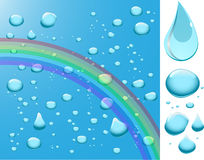 Water drops with rainbow. Royalty Free Stock Images