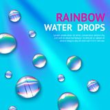Water Drops With Rainbow Stock Photos