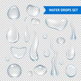 Water Drops Realistic. Pure clear water drops realistic set isolated vector illustration Stock Images
