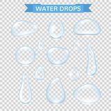 Water drops. Realistic water rain drops set isolated on transparent background. Vector pure water bubbles on window. Glass surface. Vector illustration royalty free illustration