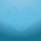 Water drops on red heart. Vector illustration Royalty Free Stock Images