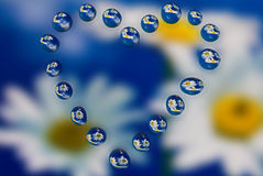 Water drops with reflection Stock Image