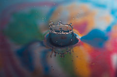 Water Drops and Ripples. Macro photo of water drops falling into a pool of water, causing a splash and ripples Royalty Free Stock Photos