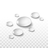Water Drops Set  on Transparent Background Stock Photos