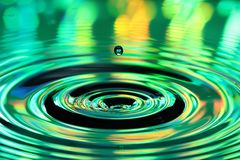 Water drops splash. Abstract background of colorful ripples stock images
