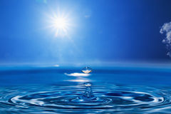 Water drops with  Sun sky Royalty Free Stock Image