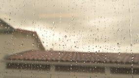 Water drops on train window. stock video footage
