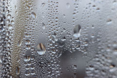 Water drops on transparent glass Royalty Free Stock Image