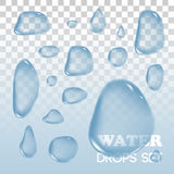 Water drops. Vector objects. Rain  on background. Royalty Free Stock Photo