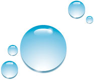 Water Drops on White. Blue water drops on a white background (H2O drips Stock Image