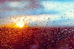 Water drops on a window glass after the rain Stock Photos