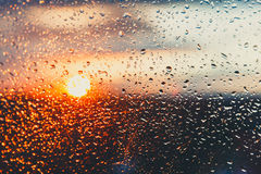 Water drops on a window glass after the rain Royalty Free Stock Photography