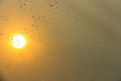 Water drops on a window glass after the rain. Royalty Free Stock Photos