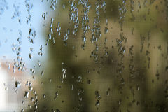 Water drops on a window pane. Condensation on a window pane with blurry background Stock Photography
