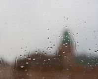 Water drops on window after rain. Soft focus Stock Photography