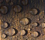 Water Drops Wood Stock Photo