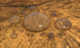 Water drops on wooden surface. Some rendered water drops on wooden surface Royalty Free Stock Photos