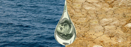 Water, drought earth & dropping money.  Stock Image