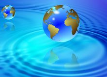 Water and earth globes Stock Photography