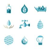 Water, ecology, freshness. Characters in a flat Stock Photos